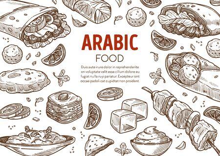 Restaurant menu with Arabic traditional food sketch banner Stock Illustratie