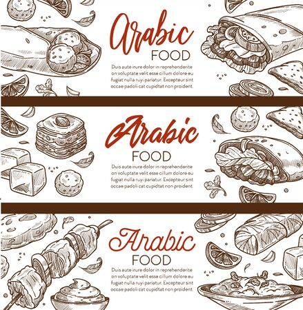 Arabic food and Middle eastern cuisine restaurant sketch banner