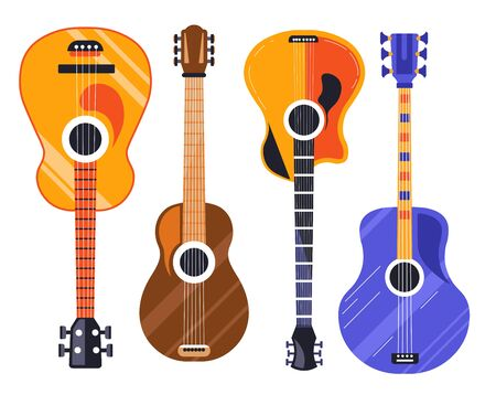 Guitar isolated icons, string plucked musical instruments Illusztráció