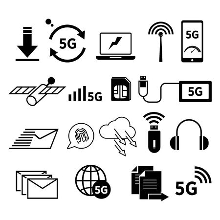 5G Internet isolated icons, speedy network connection Иллюстрация