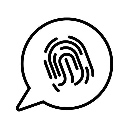 Phone security, fingerprint scan isolated line icon