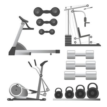 Fitness workout equipment, training apparatus, weights and barbells Фото со стока - 133638516