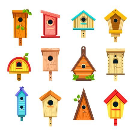 Birdhouses isolated icons, nesting boxes or tree buildings
