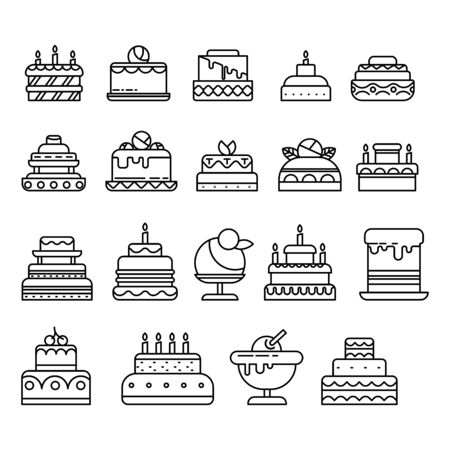 Cakes isolated line icon, birthday and wedding desserts Illustration