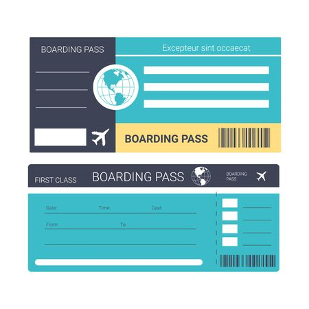 Airplane ticket or boarding pass isolated icons, traveling and tourism