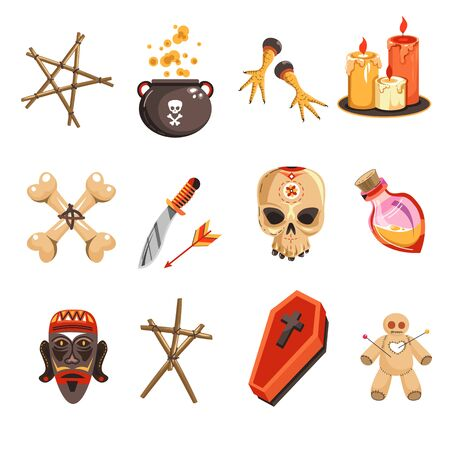 African occult practices or voodoo tribal attributes isolated icons