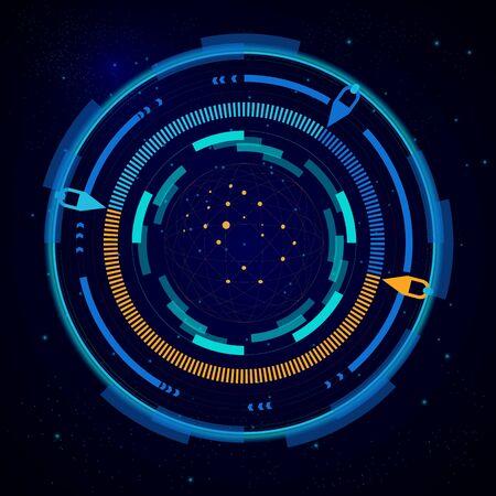 Virtual target, digital eye HUD UI, futuristic interface, space radar