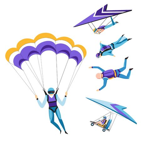 Parachutist and paraglider, skydiving isolated characters, sky jumping Illusztráció