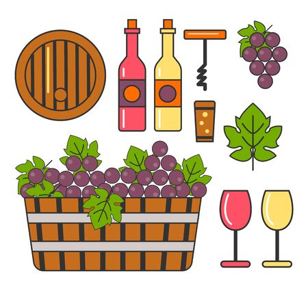 Grapes and wine, winemaking and winery, barrel and bottle isolated icons
