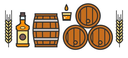 Craft beer and brewery isolated icons, bottle and barrels 일러스트