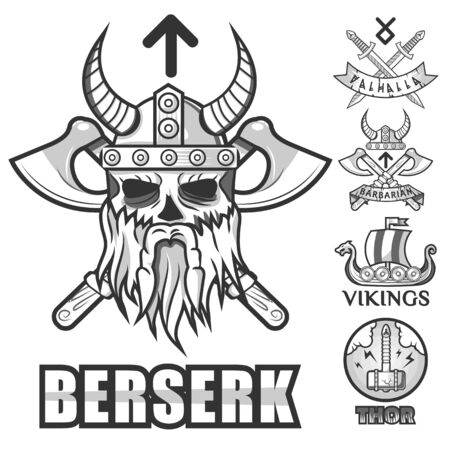 Scandinavian warriors, viking isolated icons, horned helmet and arms
