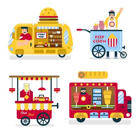 Street food trucks, burgers and popcorn, Chinese noodles and doners Illustration
