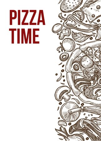 Italian food restaurant, pizza time sketch poster