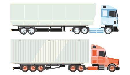 Lorry truck isolated icons, logistics and transportation, delivery 向量圖像