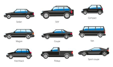 Vehicle body types, car carcass shape and model names isolated icons