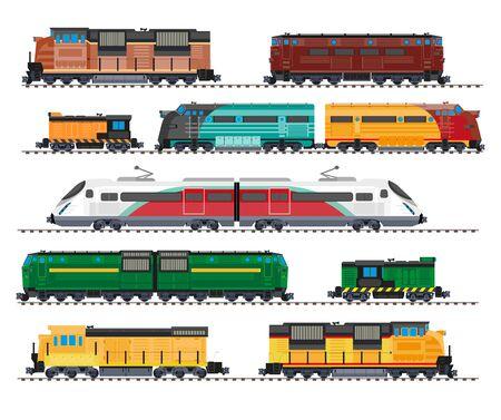 Locomotoras eléctricas y diesel, trenes de alta velocidad, vagones de carga iconos aislados