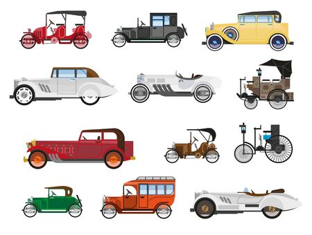 Retro vehicles, vintage cars isolated icons, automobile industry history Stok Fotoğraf - 133638577