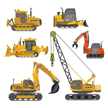 Building work, construction machinery equipment isolated icons Illustration