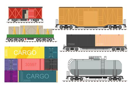 Railway transport, freight train wagons isolated icons