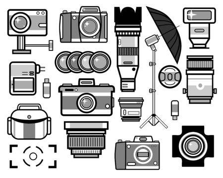 Camera and photo equipment isolated icons, photoshoot equipment Иллюстрация
