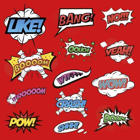 Visualizzazione dei suoni, segni comici, like e boom or bang Vettoriali