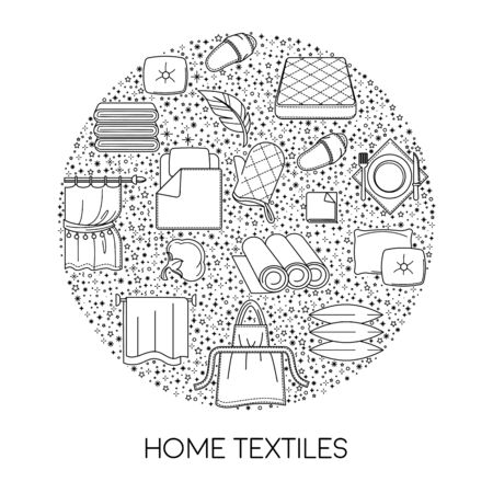 Home textile shop isolated icon, cotton fabric products