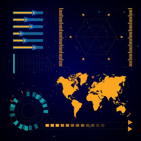 Virtual technology and spaceship navigation, futuristic user interface Иллюстрация