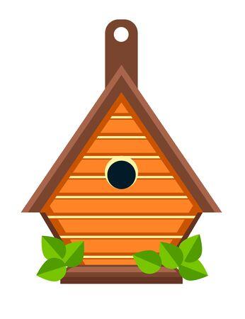 Birdhouse or nesting box isolated icon, handmade wooden construction