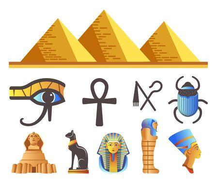 Egyptian Pyramids and Pharaohs, Egypt symbols and landmarks isolated icons
