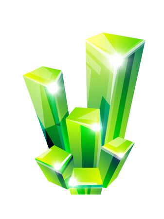 Gemstone, mineral or crystal isolated icon, green emerald Stock Illustratie
