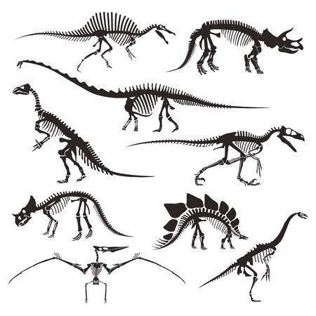 Prehistorische dieren botten, dinosaurusskeletten geïsoleerde pictogrammen