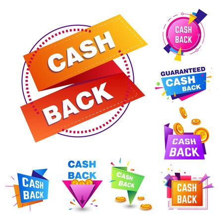 Cash back service isolated icons, shopping sale or discount
