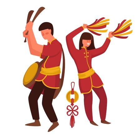 Chinese man and woman in traditional clothing, pompoms and drum