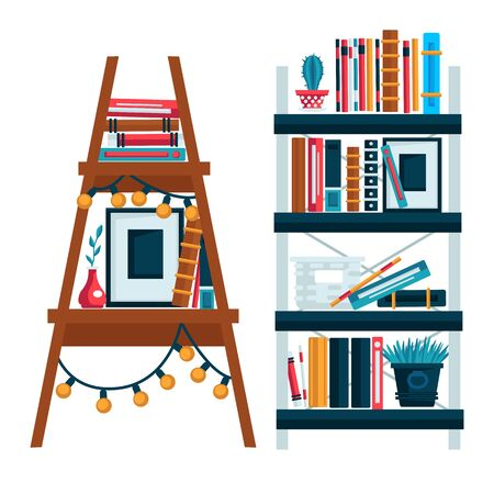 Home library bookshelves isolated icons, study room