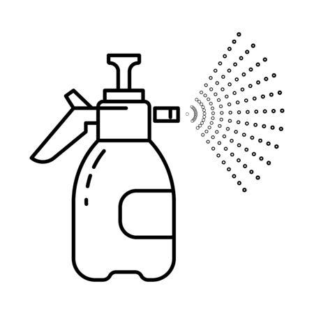Pulverizador de mano con icono de línea aislada de bomba, herramienta de jardín Ilustración de vector