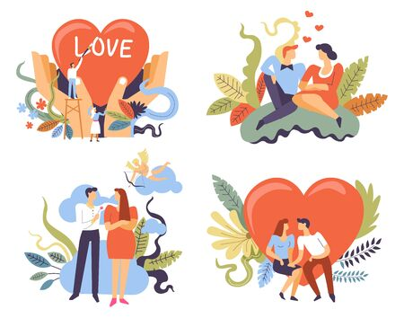 Couples on romantic dates, love and relationships, isolated icons