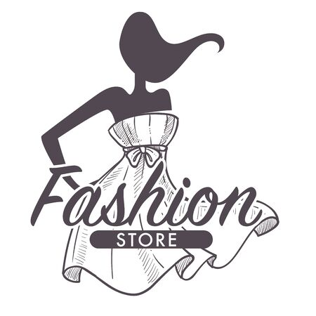 Fashion store or female clothes shop isolated sketch icon Ilustracja