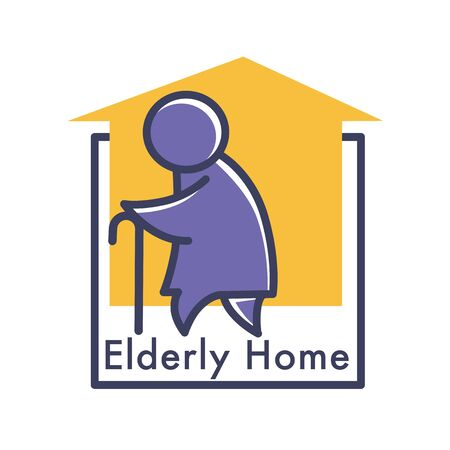 Elderly care or nursing home isolated icon, senior people care Illustration