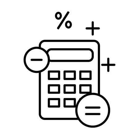 Accounting and finance outline symbol, calculator isolated line icon Ilustracja