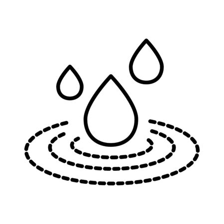 Spilled liquid and water drop isolated line icon Stock Illustratie