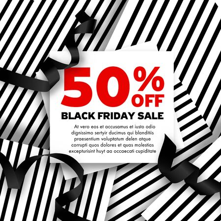 Black Friday Sale inscription design template. Stripe paper White and Red Background ribbons decoration. Square shape Promo offer poster or advertising flyer. Vector illustration.