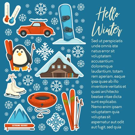 Ski and snowboard, winter sport and outdoor activity, extreme mountain resort vector. Skates and tubing, countryside house and snowy mountain. Car and penguin, low temperature on thermometer