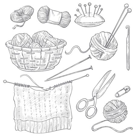 Threads and knitting tools, needles and pins, sewing and cross stitching isolated sketches vector. Woolen knitwear and yarn, scissors and hook. Hand drawn equipment to knit, handmade knitwear