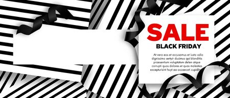 Black Friday Sale Banner design template. White and Red Background ribbons decoration. Promo offer poster or advertising flyer. Vector illustration.
