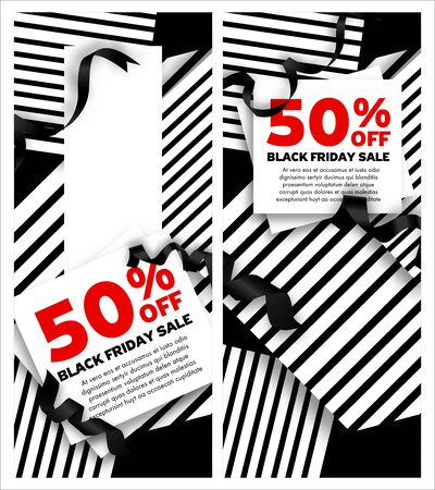 Black Friday Sale Banners inscription design template. Stripe paper White and Red Background ribbons decoration. Promo offer poster or advertising flyer. Vector illustration.