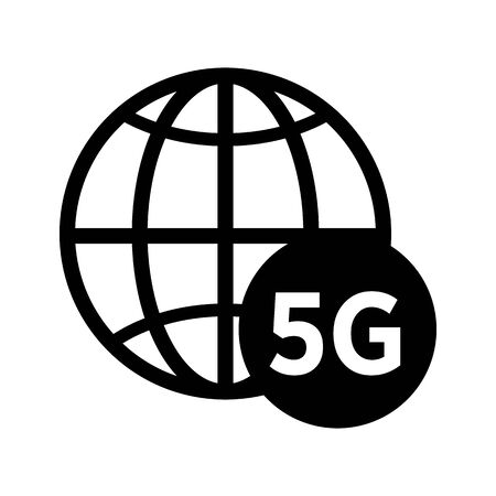 Planet or network isolated line icon, 5G Internet connection Иллюстрация