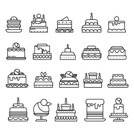 Wedding and Birthday cakes isolated line icons, pastry food or bakery Illustration