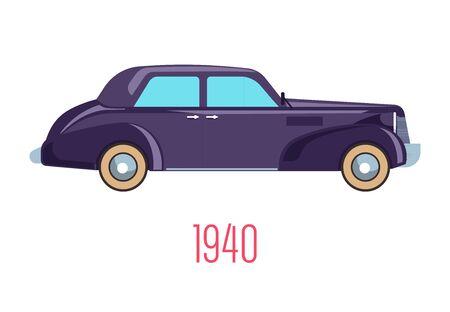 Retro car of 1940, vintage vehicle isolated icon Çizim