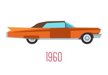 Retro car of 1960s, vintage vehicle isolated icon