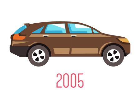 Hatchback car 2005 model isolated icon, vehicle Çizim